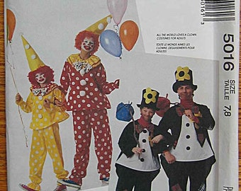 Adults, Children's, Boys', Girls' Halloween Costumes Clown, Hobo, McCall's 5016 Sewing Pattern UNCUT