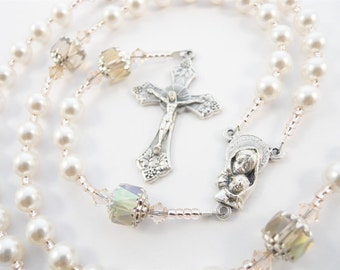 Personalized Rosary in Champagne and White Swarovski Pearls - Baptism, First Communion, Confirmation Catholic Gift