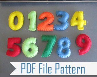 Felt Number Sewing Pattern, Learning the Numbers from 1 to 9 PDF Sewing Pattern, Make your Own Felt Numbers   A807