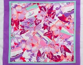 Scarf Square Hawiian Themed Lavender white pink teal scarf Exotic Flowers Beach Scenes