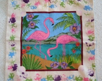 Handpainted Flamingo Canvas Bag, boho clothing, gypsy clothing, bohemian clothing, hippie, fashion accessory tote bag handbag beach tropical