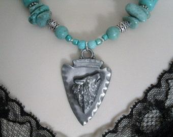 Turquoise Wolf Necklace, southwestern jewelry southwest jewelry turquoise jewelry native american jewelry theme western jewelry country