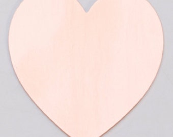 Large Copper Heart - 6 Pk.  1 3/8 x 1 1/2  inches   24g.  Stamping Blank- MET-536.10