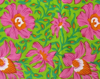 hand printed cotton fabric -pink and green floral fabric - 1 yard - ctjp114