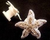 Wedding Rhinestone STARFISH Ear Plugs / 2 - 14mm /  rhinestone starfish wedding ear plugs gauges Little MERMAID ear plugs earrings