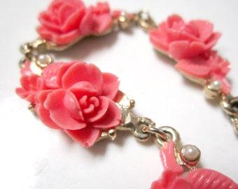 Vintage Celluloid Pink Roses Bracelet Vintage Flowers Faux Pearls Gold Pink Bracelet Gift for Her Gift for Mom Under 25