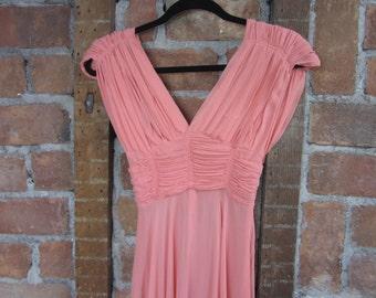 1930s Coral Gown. Greta Garbo Dress. XS