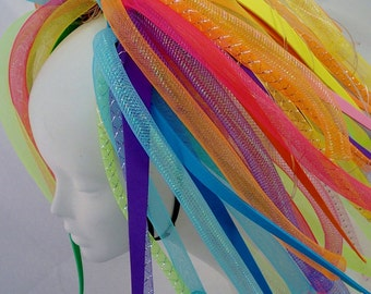 Cyberlox Neon Rainbow Medium length Blast Pigtail Falls Cybergoth Cyberpunk Cyberpop Cyber Blue and green yellow orange pink purple