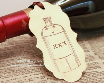 Halloween Gift Tags (Double Layered) - Poison Bottle Tags - Vintage Inspired Handmade Halloween Tags (Set of 8)