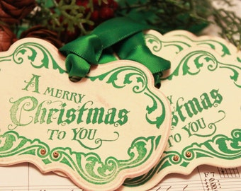 Christmas Tags (Doubled Layered) - A Merry Christmas To You (A3) - Handmade Vintage Inspired Christmas Gift Tags - Set of 8