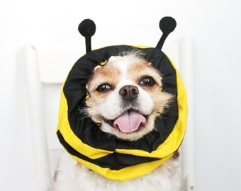 Garden Bee Dog Snood / Stay-Put 3 Rows Elastic Thread / Pet Hat / Long ear covering / Specialty Snood