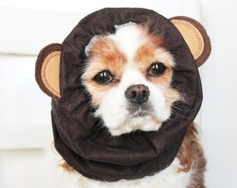 Monkey Dog Snood - Stay-Put 3 Rows Elastic Thread - Pet Hat - Long ear covering - Specialty Snood