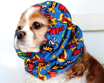 Comic Book Dog Snood - Stay-Put 3 Rows Elastic Thread - Long Ear Coverup - Cavalier King Charles or Cocker Snood