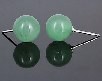 6mm Natural Green Jade Aventurine Ball Stud Post Earrings, 14K White Gold, Minimalist Earrings, Green Earrings, Bridal Earrings