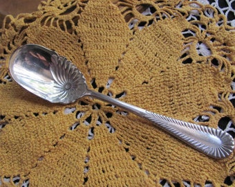 Antique Silver Plate Shell Sugar Berry Spoon - Oneida Community Two Pattern 1904 RARE