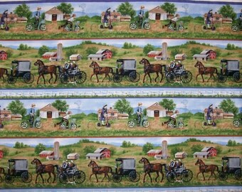An Amish Country Charm Scenic Stripe Cotton Fabric By The Yard Free US Shipping