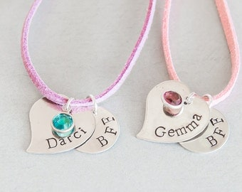Best Friend Duo / Personalized silver necklace with birthstone for girls, friends, cousins, BFF