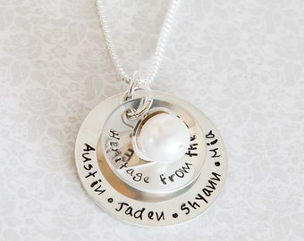 My TRIBE -- Sterling Silver, Personalized, Hand stamped Necklace for Mom ,Mommy, Mother, Grammy, Grandma, Nana, Nona, Mimi, Mama