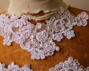 Cute embroidered  and beaded organza flower   applique  white color 2 pieces listing 9 by 3 inch