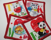 Quilted Red & White Vintage Valentine Coasters Candle Mat - Set of 4