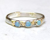 Engagement Ring, Opal ring -Gemstone blue opal, Mineral ring, October Birthstone silver sterling ring -Made to order, gift for her