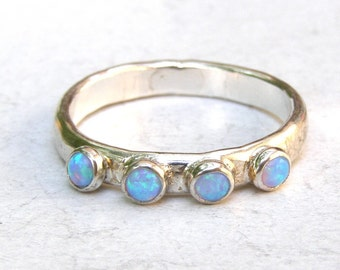 Opal ring,Blue Opal stacking ring, gemstone ring, fine silver, Gift for her, birthday gift,Anniversary ring,Birthstone ring, MADE TO ORDER