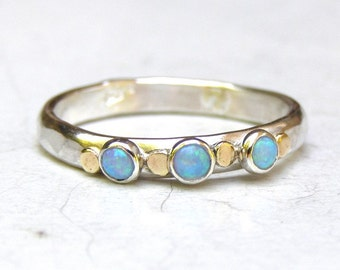 Anniversary ring,Silver and gold ring, Stacking ring, Opal ring, Gemstone ring, October Birthstone ring, gift for her, Birthday gift