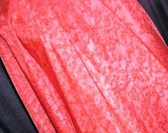 Red Orange Silk Belly Dance Veil or Yardage Fabric