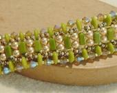 PATTERN Flat Spiral bracelet with CzechMate Bricks and Lentils beads bead weaving cuff