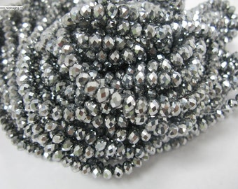 90 pcs 4x6mm rondelle hematite color crystal glass beads
