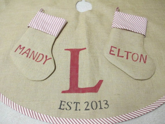 Personalized burlap tree skirt with 2 matching stockings
