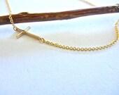 Solid Gold Sideways Celebrity Cross Necklace, Fine Jewelry,Link Cross Necklace,Horizontal Cross Necklace