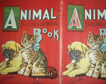 1920's coloring book Animal Tracing Coloring book Saalfield Lion Pig Pony Sheep Bear Elephant large vintage coloring book animals 1929 book