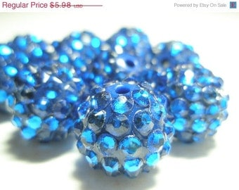 CLEARANCE SALE 16mm - HOT New Item -10 Rhinestone Resin Balls - Royal Blue Basketball Wives Inspired