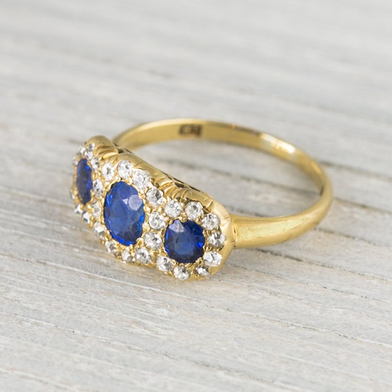 Items similar to Antique Victorian Gold Diamond & Sapphire Engagement Rin