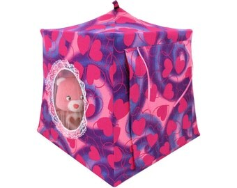 Toy Pop Up Tent, Sleeping Bags, pink & purple, heart print fabric for stuffed animals, dolls
