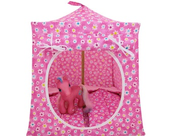 Toy Pop Up Tent, Sleeping Bags, shades of pink, small flower print fabric