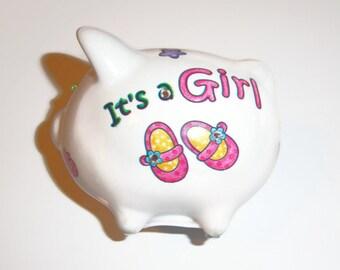 Baby Girl mini piggy bank - swarovski crystals