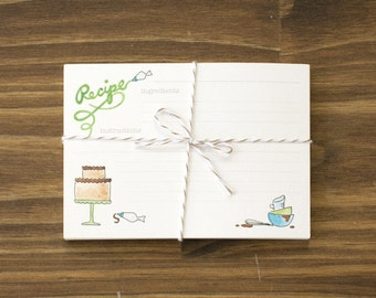 baking recipe cards avocado green and aqua teal box of 24