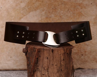 Hip Belt, Wide Leather Belt, Brown Womens Belt  - the Ella