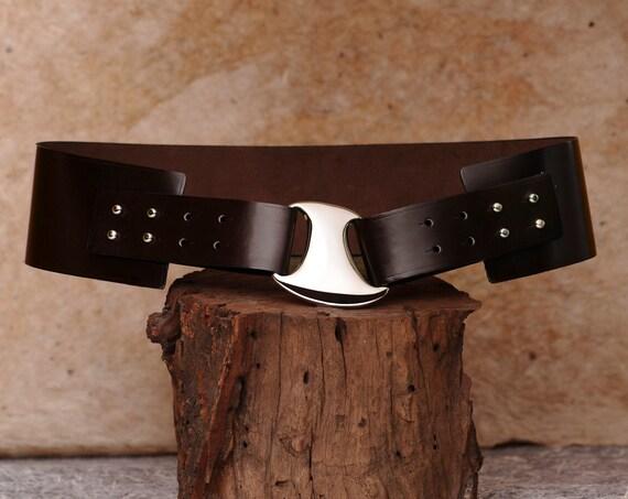hip belt wide leather belt brown womens belt the ella