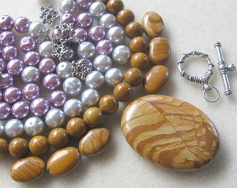 Wood Jasper Gemstone Pendant Gemstone Beads Glass Pearls Pewter Bead kits  DIY Jewelry Kit Plus Size Jewelry Long Necklaces Beading Kit