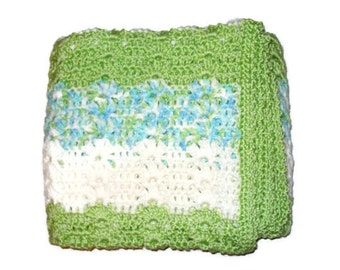 Crochet Baby Boy Soft Crocheted Striped Infant Blanket Afghan in Green White and Aqua Blue Multicolor Stripes Baby Shower Present Gift