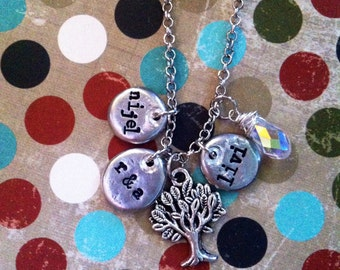 NEW-Family Tree Pewter Pebble Hand Stamped Necklace