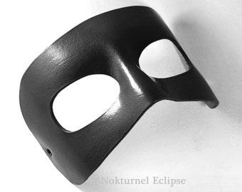 Black Venetian Leather Mask Masquerade Ball Fetish Villain Halloween Superhero Cosplay Fantasy Role Play Party Costume UNISEX