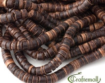 """Natural coconut heishi beads - 16"""" strand CP005Y"""