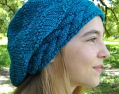 Slouchy Beanie Hat Beret with Braided Band Hand Knit