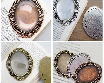 12 Pendant Trays- 30x40mm Crown-Edged Oval Bezel Cup Cabochon Mountings, 3 colors available- antique silver, antique bronze, antique copper