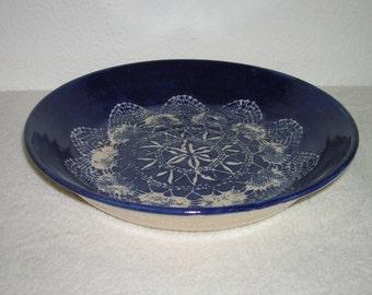 Vintage, blue and cream, boho style pottery bowl