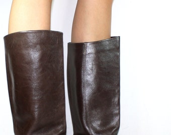 Vintage flats knee high tall 9 west womens brown Leather fashion boots 6 B M
